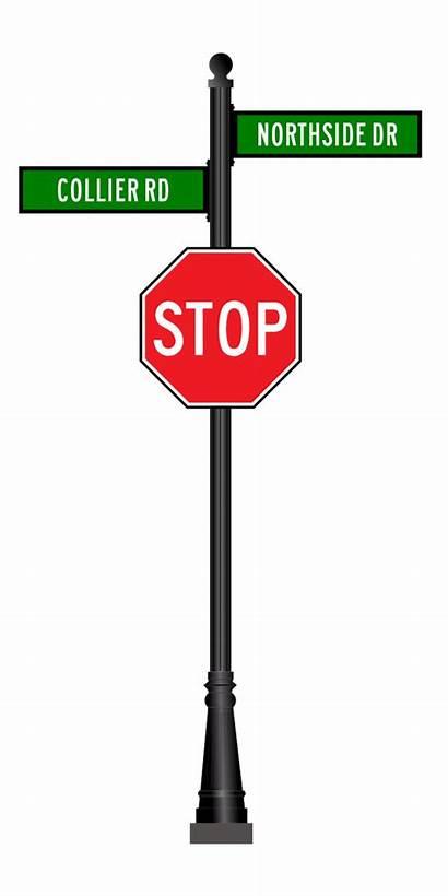 Stop Street Aluminum Base Fluted Pole Road