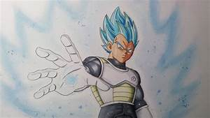 Drawing Vegeta Super Saiyan blue - Resurrection F' - YouTube