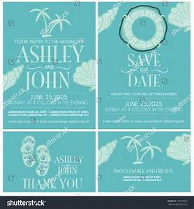 beach wedding invitation card set stock vector 149009285 With beach wedding invitations vector