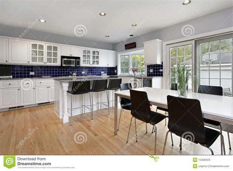 Kitchen With Blue Tile Backsplash Stock Photos   Image