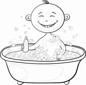 Cartoon, contours: cheerful smiling child sitting in a ...
