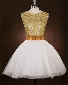 Hollow Out White Gold Cocktail Dresses A-line Scoop Tulle ...