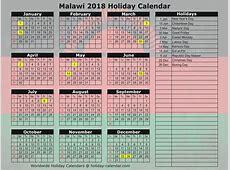 Malawi 2018 2019 Holiday Calendar