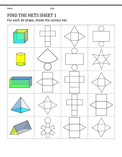 nets of 3d shapes worksheet year 5 05 february 2016 dhs