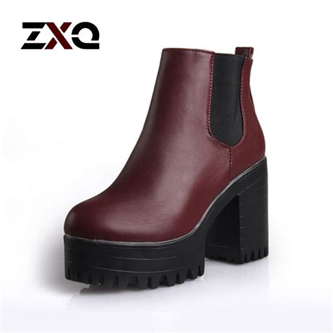 motorcycle ankle boots sale new fashion women boots square heel platforms ankle boots
