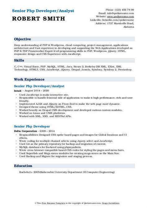 senior php developer resume samples qwikresume