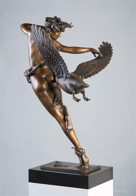 night flight  life size  michael parkes bronze