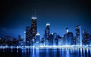 Blue cityscapes Chicago night lights urban skyscrapers ...