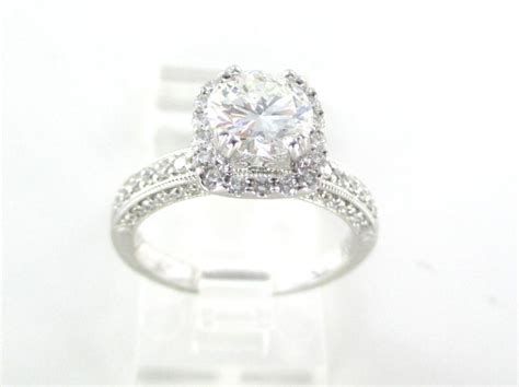 gold 18k white solitaire engagement ring 69 diamonds 1 56