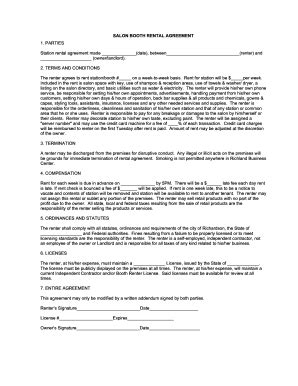 printable booth rental agreement  forms