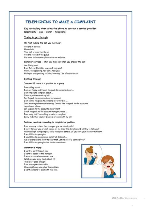 Telephone Complaint Worksheet  Free Esl Printable Worksheets Made By Teachers