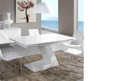 table salle a manger extensible design blanc laqu 233 zag
