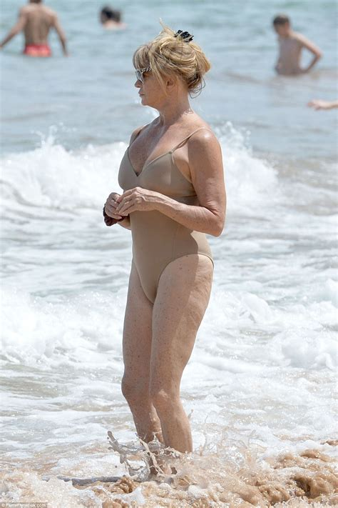 nina proll swimsuit goldie hawn showcases her fabulous figure in a taupe one