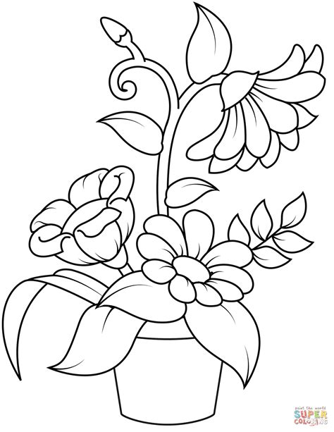 Coloring Page Flower Pot by Flowerpot Coloring Page Free Printable Coloring Pages