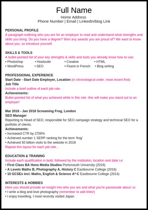 How To Do A Cv Template by How To Write A Great Cv