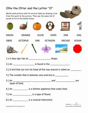 words with the letter o words that begin with quot o quot worksheet education 50328
