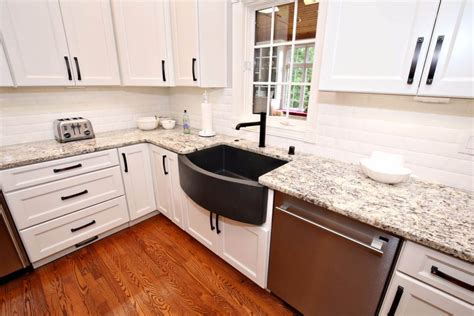 elegant white gray kitchen remodel  granite savvy home supply