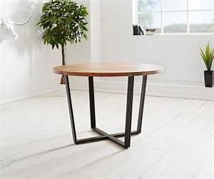 Holztisch Mit Metallgestell : esstisch tamana 120x120 akazie natur rund metall schwarz ~ Lateststills.com Haus und Dekorationen