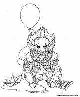 Pennywise Coloring Clown Scary Printable Lineart Jadedragonne Deviantart Fairy Coloriage Stephen Sheets Wise Penny Dufort King Horror Colorear Adult Hard sketch template