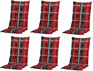 Auflagen Für Loungemöbel : 6x b253 hochlehner gartenstuhl auflagen 120x50x8cm rot kariert f r st hle mit hoher lehne ~ Markanthonyermac.com Haus und Dekorationen