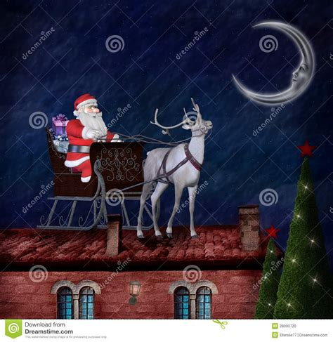 rooftop santa and sleigh santa claus and his sleigh on a roof stock illustration illustration of house firs 28000720