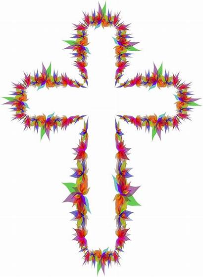 Cross Abstract Flowers Clipart Svg Sign