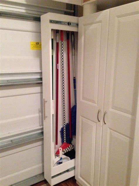 Small Broom Closet Organization Ideas by Storage Broom Organizer Idea In White Broom Closet