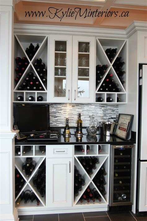 beautiful wine storage  prep bar area  kitchen white