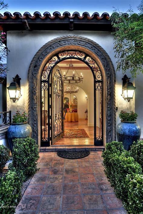 entrance spanish mediterranean architecture riverfront limestone estate inspired  aragon santa