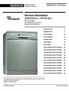 Whirlpool Adp 8797 A   Pc Tr 6s I Dishwasher Service M