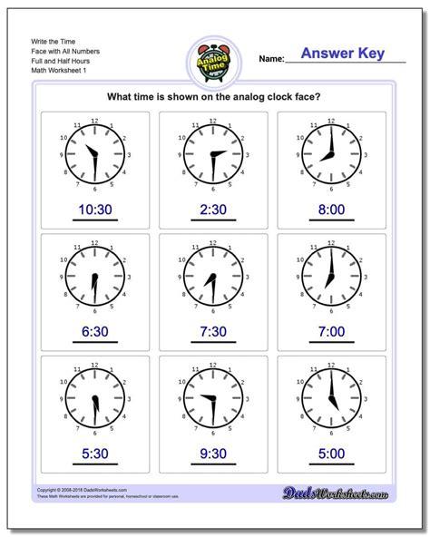 grade clock worksheets db excelcom