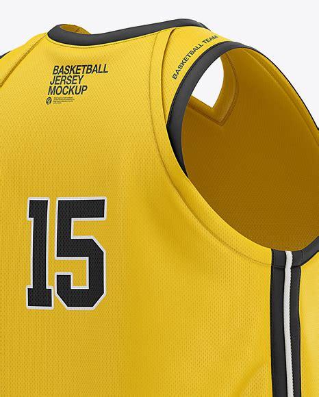 Easily changing color (borders, collar, tank top, stitches & background). Men's V-Neck Basketball Jersey Mockup - Back Half Side ...