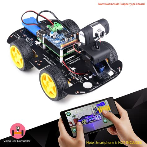 kuman smart wireless wifi rc 4wd robot car for raspberry pi 3 8g sd pc android ios