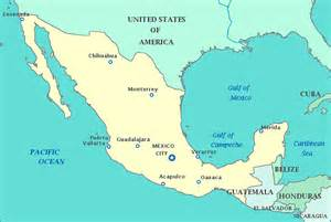 Map of Mexico, United States, Guatemala, Belize, Gulf of Mexico, Gulf ... Mexico