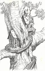 Coloring Tree Treehouse Pages Drawing Colouring Drawings Magic Adults Treehouses Fantasy Houses Adult Printable Sketchbook Project Sketches Sketch Fairy Sheets sketch template