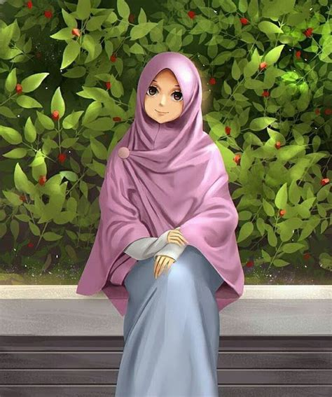 gambar wanita berhijab kartun bercadar cantik