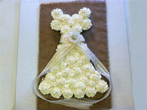 Cupcake Wedding Dress Cake Burlap And Lace Bridal Shower