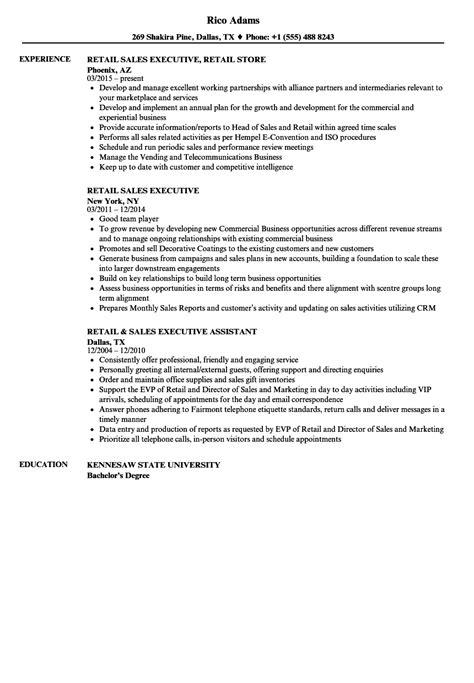 Executive Resume Sles by Retail Sales Executive Resume Sles Velvet