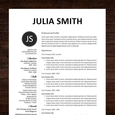 professional resume template resumes microsoft word