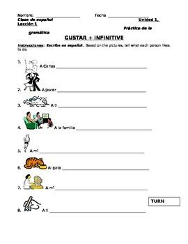 Spanish Gustar + Infinitives Worksheet By Senorita Piscina Tpt