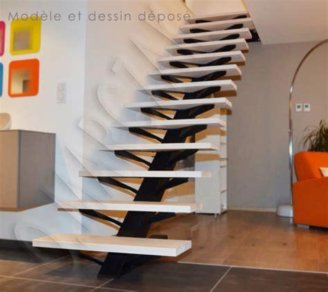 escalier limon central acier prix escaliers olivier marczak le design chez vous