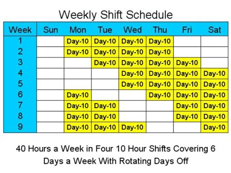Each team repeats the following sequence over a 63 day period: 10 Hour Schedules for 6 Days a Week - standaloneinstaller.com