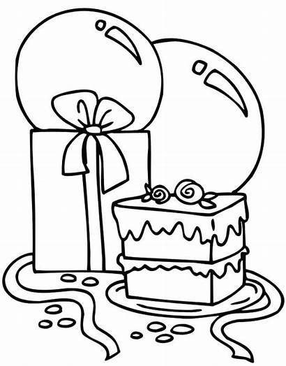 Coloring Pages Balloons Cake Counting Many