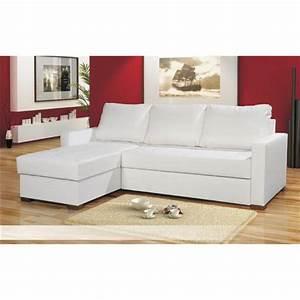 Canape Angle Cuir Blanc : photos canap d 39 angle convertible cuir blanc ~ Farleysfitness.com Idées de Décoration