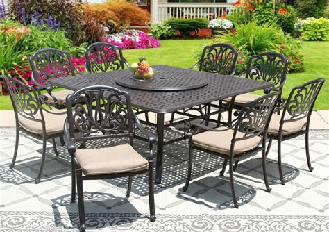 square outdoor dining table seats 8 elisabeth cast aluminum outdoor patio 9pc set 8 dining
