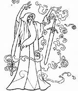 Wizard Coloring Merlin Pages Getcolorings Adults Oz Printable Magic Spell sketch template