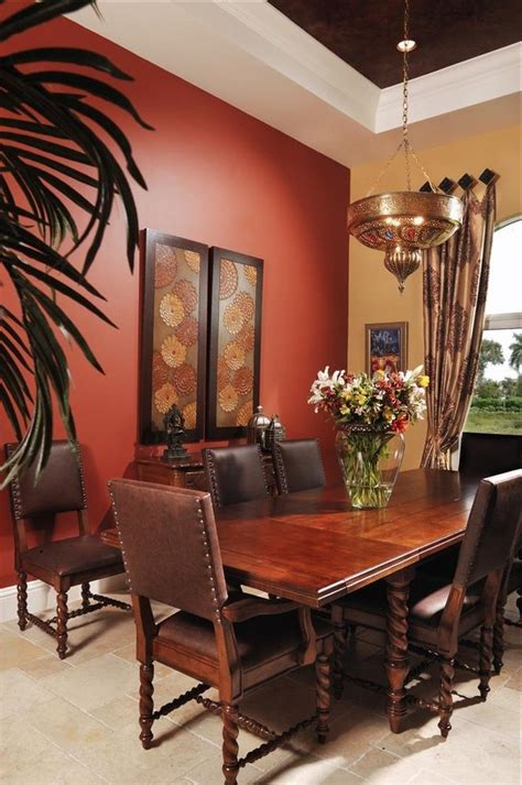 rust paint color dining room mediterranean with wall cotton valances