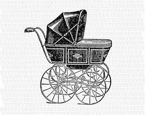 Antique Victorian Baby Carriage Black Vintage Clip Art