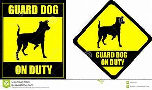 Funny Sign Guard Dog On Duty Cartoon Vector ...