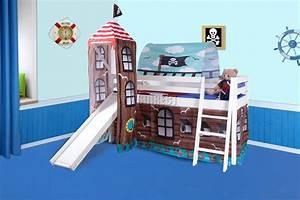 FoxHunter Wood Mid Sleeper Cabin Bunk Bed Kids Tent Slide ...